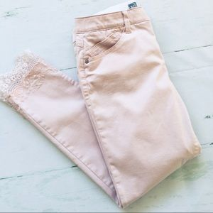 Wit and Wisdom Pink Lace Cropped Jean